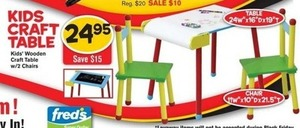 Kids Wooden Craft Table w/ 2 Chairs