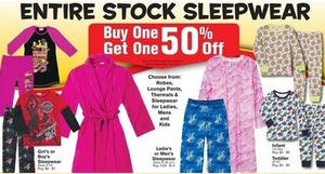 Entire Stock of Kids' Sleepwear