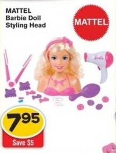 Mattell Barbie Doll Styling Head