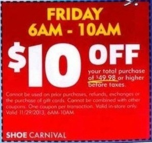 Shoe Carnival Coupon - Friday 6am-10am