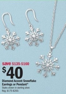 Diamond Accent Snowflake Earrings