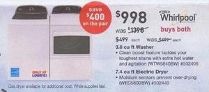 Whirlpool 3.8-cu. ft. Washer & 7.4-cu. ft. Dryer