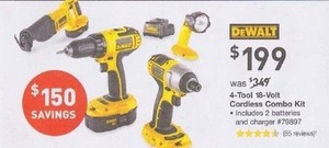DeWalt 4-Tool 18V Cordless Combo Kit