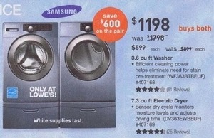 Samsung 3.6-cu. ft. Washer & 7.3-cu. ft. Electric Dryer