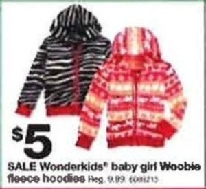 Wonderkids Baby Girl Woobie Fleece Hoodies