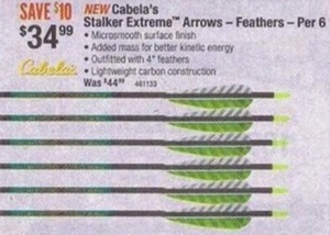 Cabela's Stalker Extreme Arrow - Feathers - Per 6