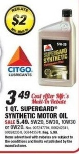 Citgo 1 Qt. Surpergard Synthetic Motor Oil (After Rebate)
