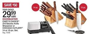 Chef's Choice 210 Electric Knife Sharpener or 15 pc Chicaco Cutlery Set
