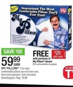 My Pillow + Free $20 Gift Card