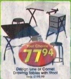 Dezign Line or Comet Drawing Tables w/ Stool