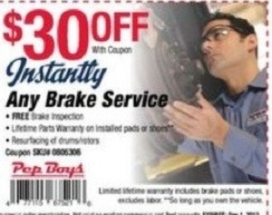 Pep Boys Coupon - Any Brake Service