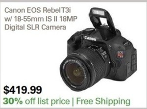 Canon EOS Rebel T3i w/ 18-55mm IS II 18MP DSLR Camera