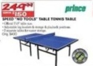 Prince Speed No Tools Table Tennis Table