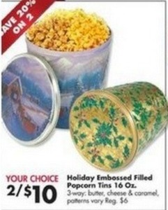 Holiday Embossed Filled Popcorn Tins