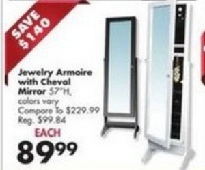 Jewelry Armoire w/ Cheval Mirror
