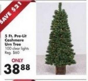 5' Pre-Lit Cashmere Urn Tree
