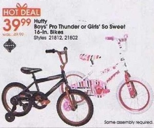 Huffy Boys' Pro Thunder or Girls' So Sweet 16-in. Bike