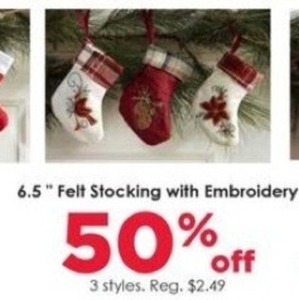 "6.5"" Felt Stocking w/ Embroidery"