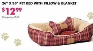 "26"" x 36"" Pet Bed with Pillow & Blanket"