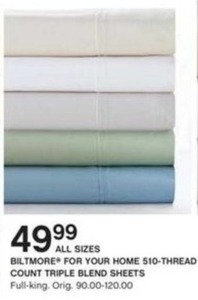 Biltmore For Your Home 510-Thread Count Triple Blend Sheets