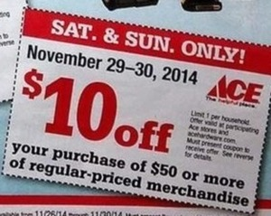 Coupon $10 off $50 regular priced purchase