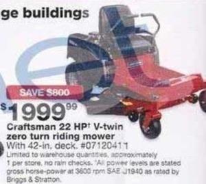 Craftsman 42 in 22hp V-Twin Briggs Zero Turn Riding Mower