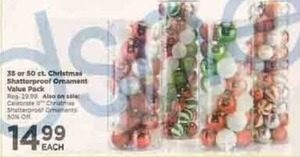 35 or 50-Count Christmas Shatterproof Ornament Value Pack