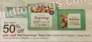 Well Beginnings Baby Care Jumbo Pack Diapers, Sleep Pants, Training Pants or Wipes