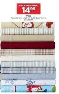 Cuddl Duds Home Twin Flannel Sheet Sets