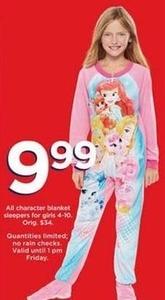 Girls' Character Blanket Sleepers