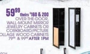 Over-The-Door, Wall Mount Mirror Jewelry Cabinets