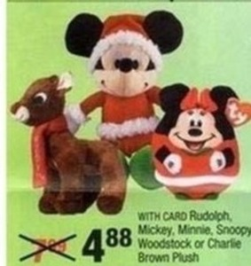 Mickey, Minnie, Snoopy, Woodstock or Charlie Plush