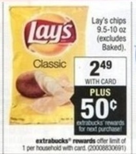 Lay's Chips (Excludes Baked) + $0.50 Extrabucks