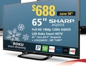 "Sharp Aquos 65"" 1080p 120Hz LED Roku Smart HDTV - LC65LE643U"
