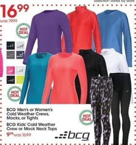 BCG Kids' Cold Weather Crew or Mock Neck Tops