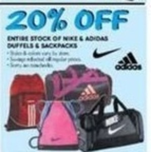 Entire Stock of Nike & Adidas Duffles and Backpacks