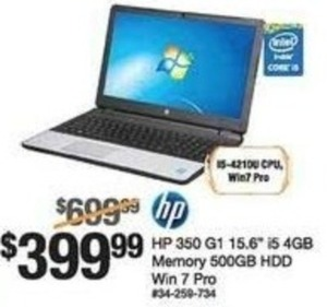 "HP 350 G1 15.6"" iS 4GB Notebook"