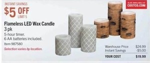 Flameless LED Wax Candle 3-Pk