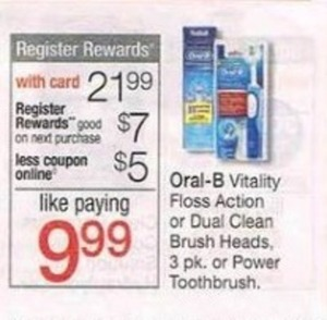 Oral-B Vitality Floss Action or Dual Clean Brush Heads + $7 Register Rewards