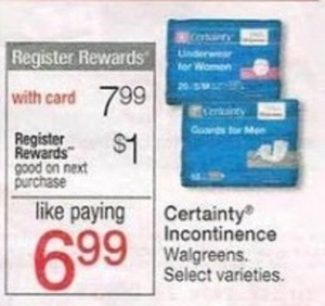 Certainty Incontinence Products w/ Card + $1 Register Rewards