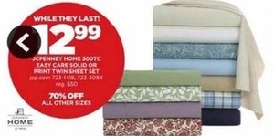 JCPenney Home 300tc Easy Care Sheet Set