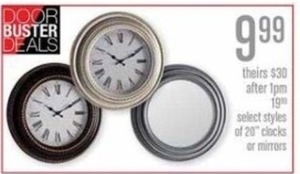 "Select Styles of 20"" Clocks"