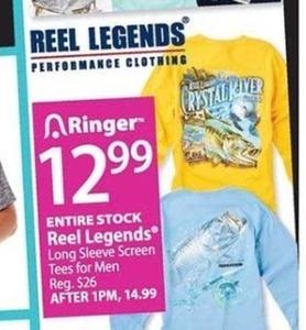 Entire Stock of Reel Legends Long-Sleeve Men's Tees
