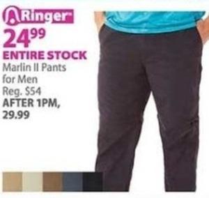 Entire Stock of Marlin II Men's Pants