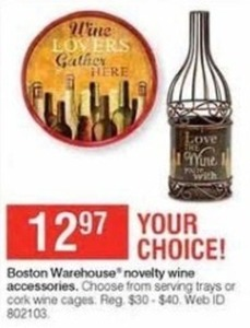 Boston Warehouse Novelty Wine Accessories