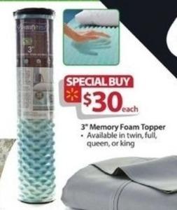 "3"" Memory Foam Topper for Twin, Full, Queen or King"