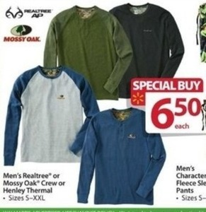 Men's Realtree or Mossy Oak Crew or Henley Thermal