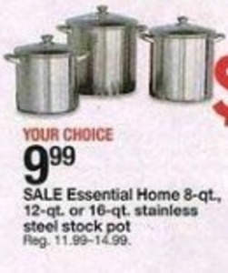 Essential Home 8qt, 12qt, 16qt Stainless Steel Stock Pots