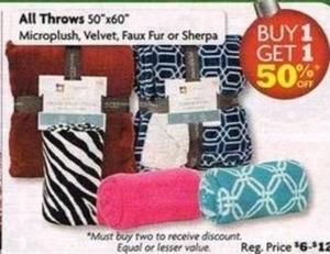 "All 50"" x 60"" Micorplush, Velvet Faux Fur or Sherpa Throws"