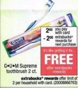 GUM Supreme Toothbrush 2 ct. + $2 Extrabucks Reward